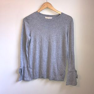 Micheal Kors gray top with tie bell sleeves